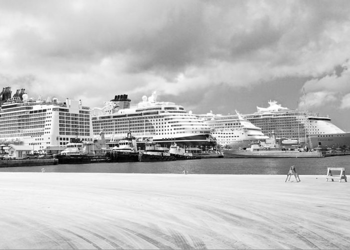 Cruise Ships Greeting Card featuring the photograph Ships All In A Row by David Coleman
