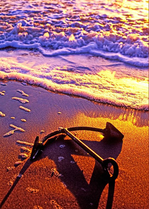 Ships Anchor Beach Greeting Card featuring the photograph Ships Anchor On Beach by Garry Gay