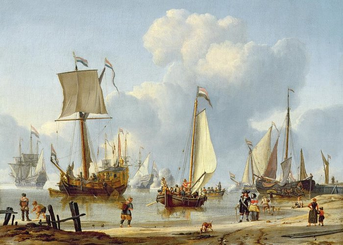 Ships Greeting Card featuring the painting Ships In Calm Water With Figures By The Shore by Abraham Storck
