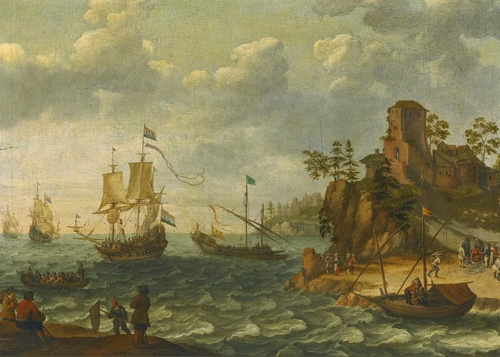 Abraham Willaerts Greeting Card featuring the painting Ships Moored Off A Rocky Coastline With Fishermen Unloading Their Catch by Abraham Willaerts