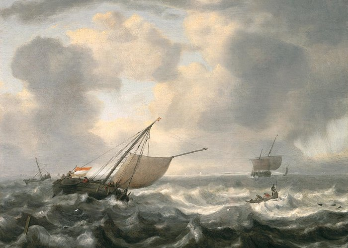 Ships Greeting Card featuring the painting Ships On A Choppy Sea by Hendrik van Anthonissen