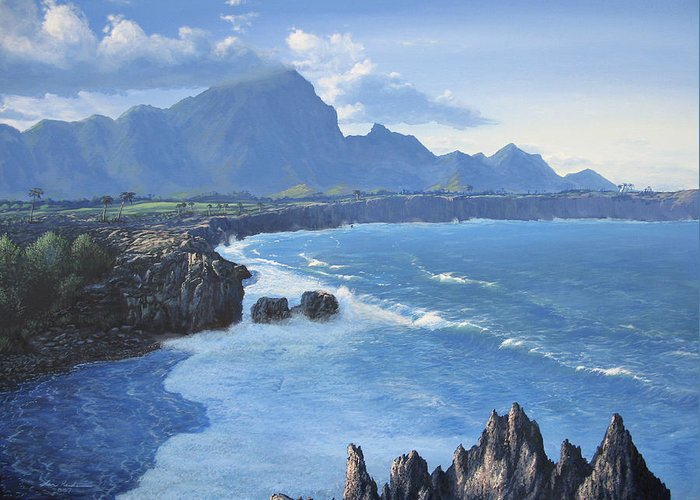 Hawaii Greeting Card featuring the painting Shipwreck Beach by Ian Henderson