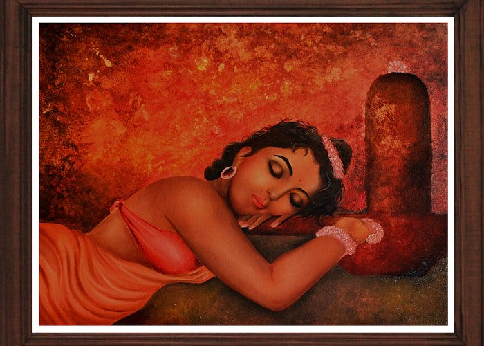 Shiva My Love Greeting Card featuring the painting Shiva My Love by Deepak Deshmukh