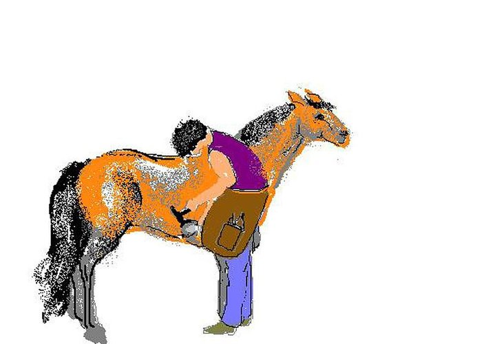 Pony Greeting Card featuring the digital art Shoeing Fat Pony by Carole Boyd