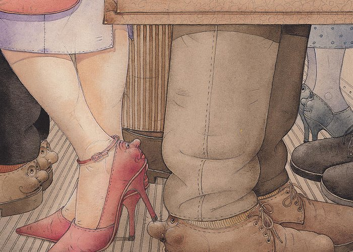 Shoes Flirt Metro Love Amour Greeting Card featuring the painting Shoes by Kestutis Kasparavicius
