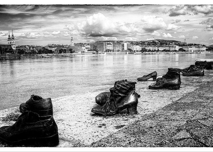 Arrow Cross Greeting Card featuring the photograph Shoes On The Danube Memorial by Doug Matthews
