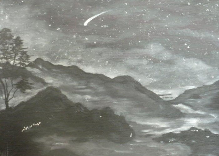 Winter Greeting Card featuring the painting Shooting Star by Irina Astley