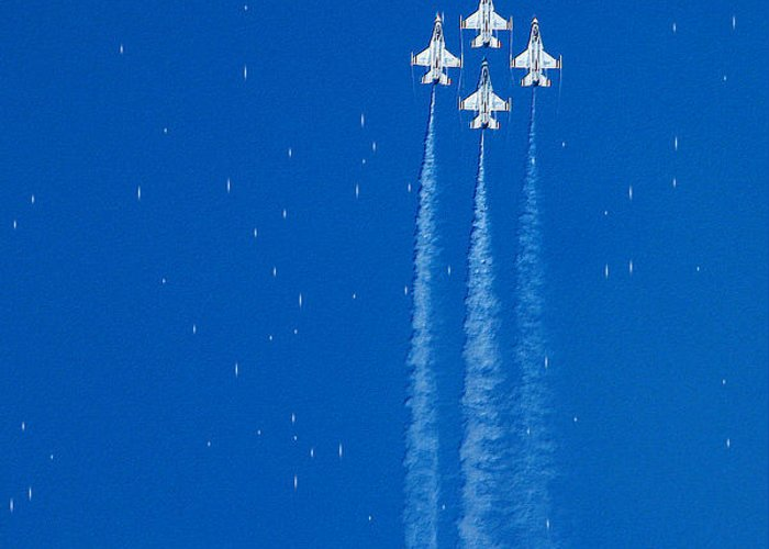 Aeroplane Air Airplane Blue Diamond Elite Fighter Force Four Jet Jets Military Perform Performance Pilot Plane Skill Sky Smoke Speed Strength Freedom Star Stars War Shooting Shoot Aim Up Brave Space Target Fast Greeting Card featuring the photograph Shooting Stars by Paul Ge