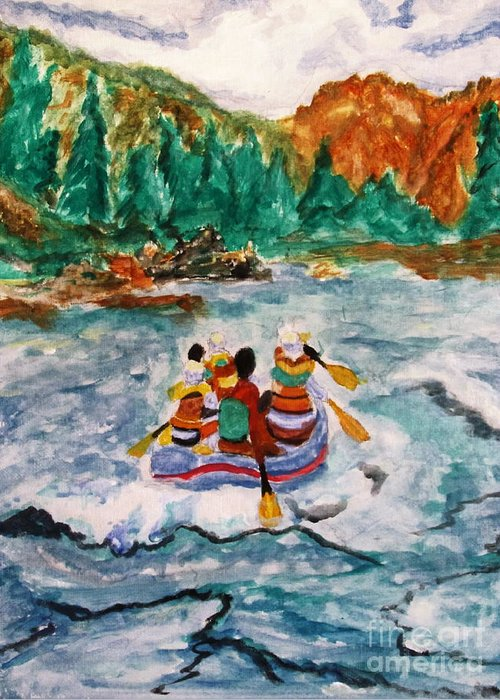 Rapids Greeting Card featuring the painting Shooting The Wild Rapids by Stanley Morganstein