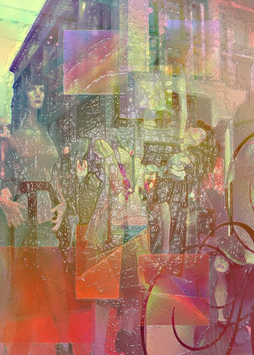 City Greeting Card featuring the digital art Shop-window by Agnes V