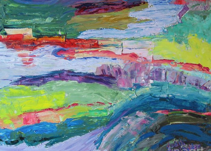 Landscape Greeting Card featuring the painting Shoreline by Judith Espinoza