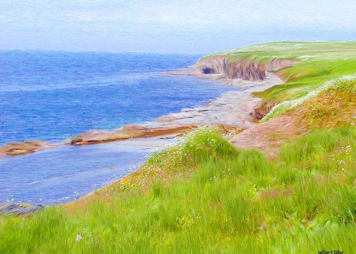 Canadian Greeting Card featuring the painting Shores Of Newfoundland by Jeffrey Kolker