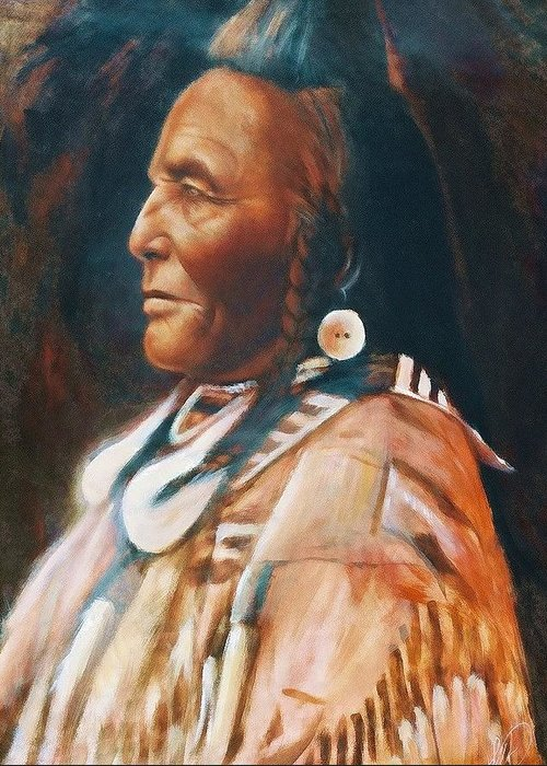 Native American Greeting Card featuring the painting Shot In The Hand by Elizabeth Silk