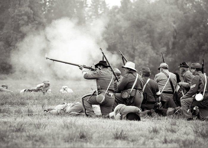 Civil War Greeting Card featuring the photograph Shots Fired Civil War by Rainbeau Decker
