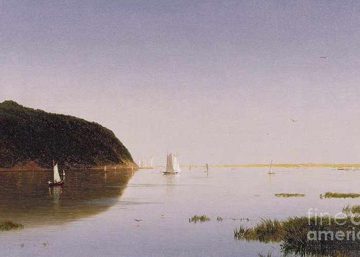Eastern New Jersey; Monmouth County; View; Boat; Yacht; Landscape; New England; American Landscape; Hudson River School; John Frederick Kensett Greeting Card featuring the painting Shrewsbury River - New Jersey by John Frederick Kensett