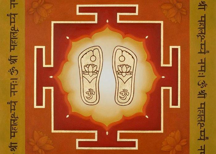 Lakshmi Greeting Card featuring the painting Shri Maha Lakshmi Paduka by Piitaa - Sacred Art