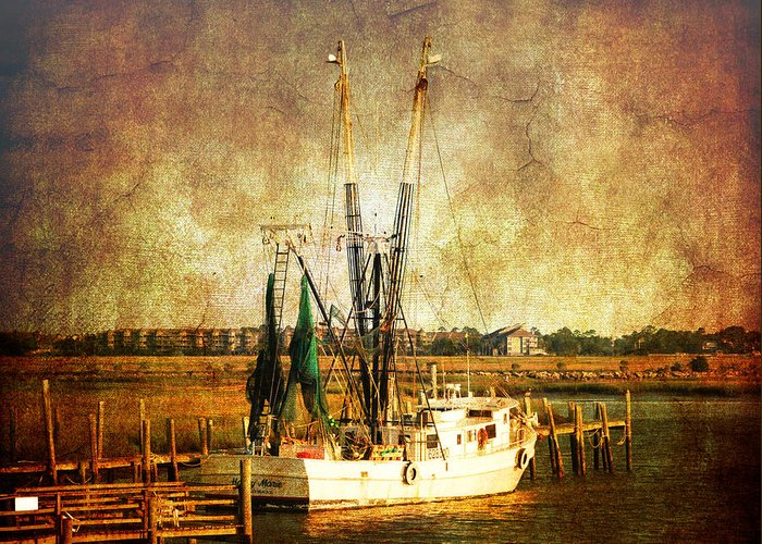 Shrimp Boat Greeting Card featuring the photograph Shrimp Boat In Charleston by Susanne Van Hulst