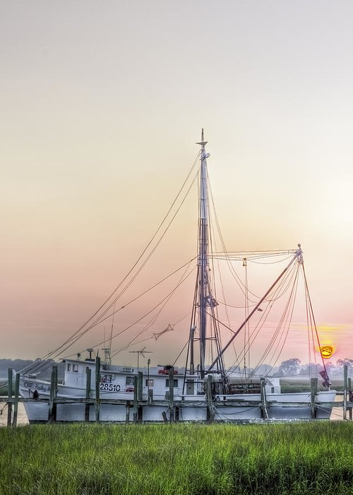 Marsh Greeting Card featuring the photograph Shrimp Boat Sunset by Drew Castelhano