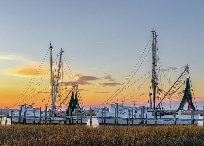 Abandoned Greeting Card featuring the photograph Shrimp Boats by Drew Castelhano
