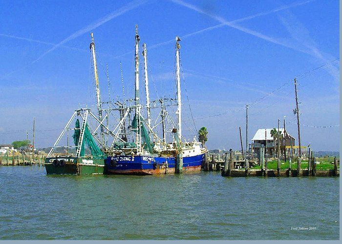 Shrimp Boats Greeting Card featuring the painting Shrimp Boats Seabrook by Fred Jinkins