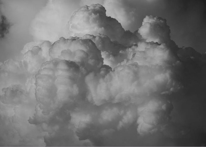 Black And White Greeting Card featuring the photograph Shrimp Clouds by Rob Hans