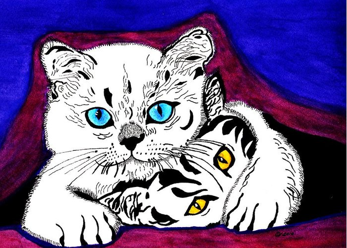 Blue Eyed Cat Greeting Card featuring the painting Shush Don't Tell by Connie Valasco