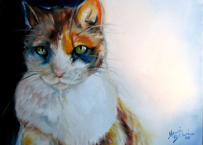 Cat Greeting Card featuring the painting Shy Calli by Marcia Baldwin