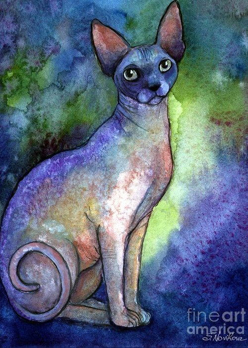 Sphynx Cat Art Greeting Card featuring the painting Shynx Cat 2 Painting by Svetlana Novikova