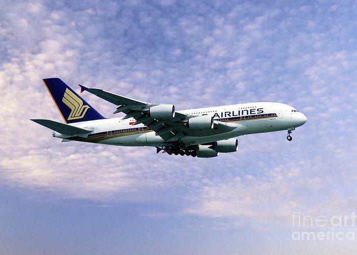 A380 Greeting Card featuring the digital art Sia A380 9v-ska by J Biggadike