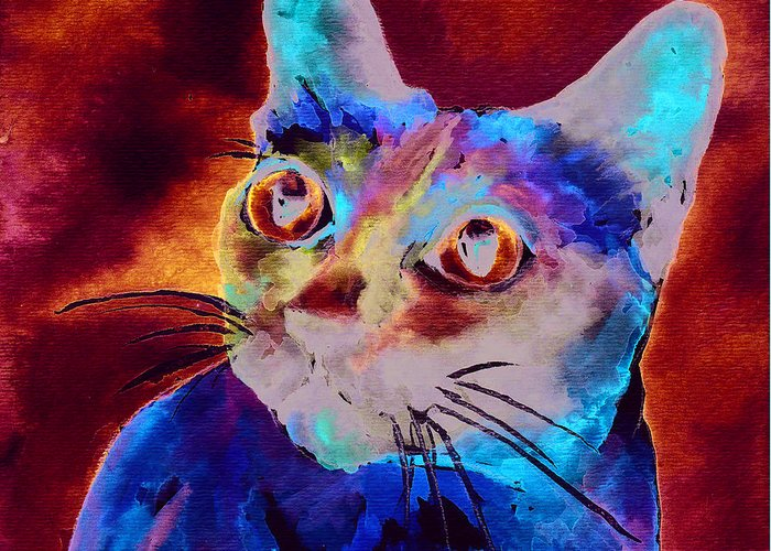 Siamese Cat Greeting Card featuring the painting Siamese Cat by Christy Freeman