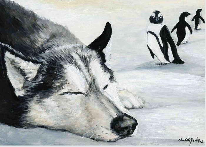 Siberian Huskey Greeting Card featuring the painting Siberian Huskey by Charlotte Yealey