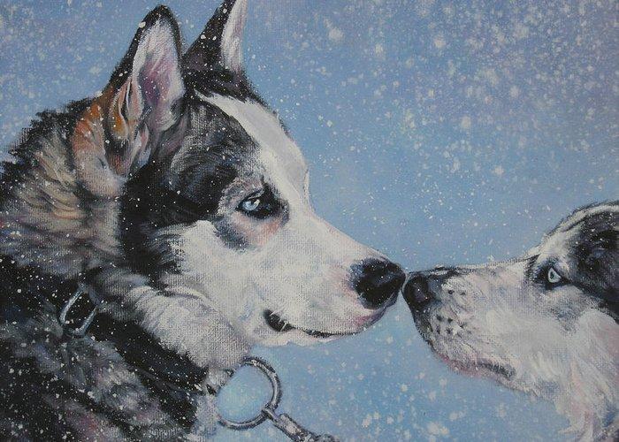 Siberian Husky Greeting Card featuring the painting Siberian Huskies In Snow by Lee Ann Shepard
