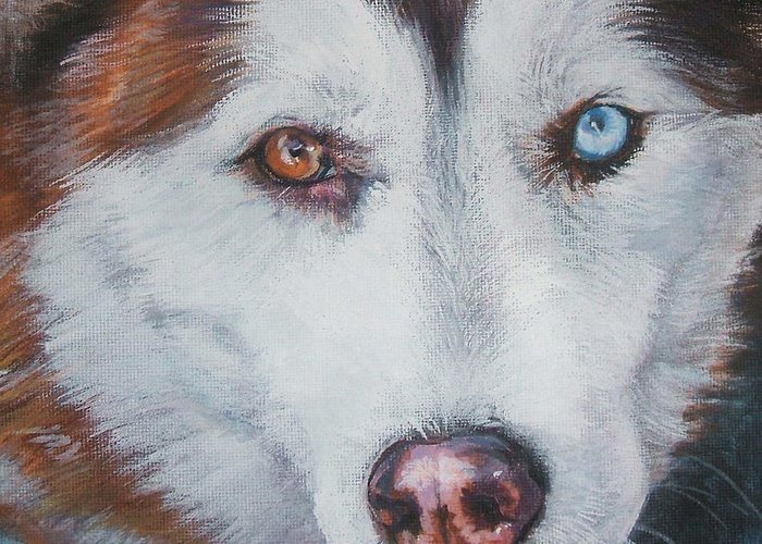 Siberian Husky Greeting Card featuring the painting Siberian Husky Red by Lee Ann Shepard