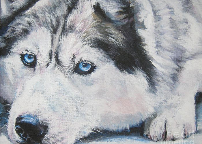 Dog Greeting Card featuring the painting Siberian Husky Up Close by Lee Ann Shepard