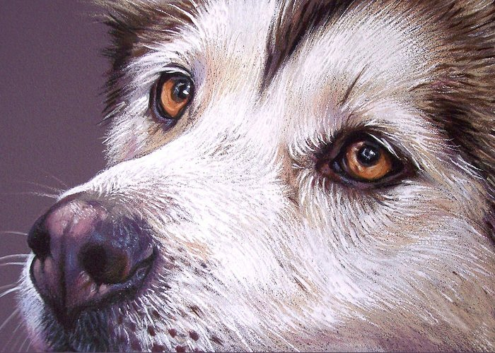 Dog Greeting Card featuring the drawing Siberian Husky by Elena Kolotusha