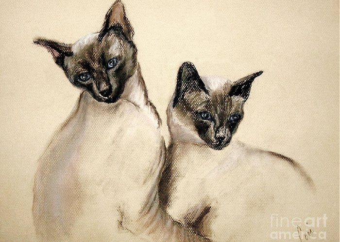 Cat Greeting Card featuring the drawing Sibling Love by Cori Solomon