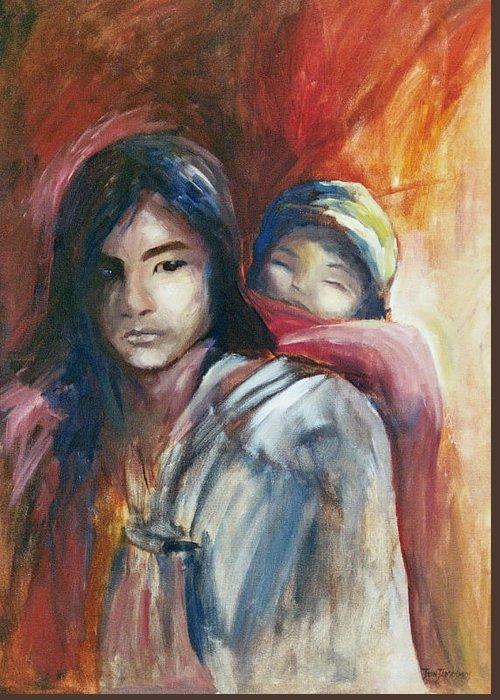 Sibling Greeting Card featuring the painting Siblings by Jun Jamosmos