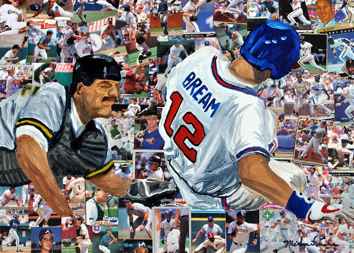 Braves Greeting Card featuring the painting Sid Bream Slide by Michael Lee