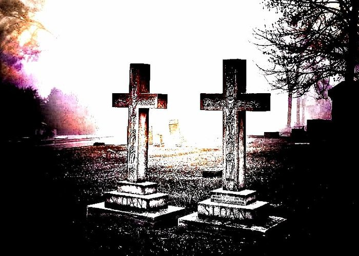 Elmwood Cemetery Greeting Card featuring the photograph Side By Side by Diane Payne