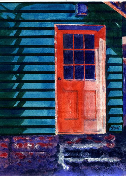 Door Greeting Card featuring the painting Side Door by Marsha Elliott
