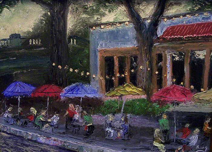Landscape Greeting Card featuring the painting Sidewalk Cafe by Stephen King