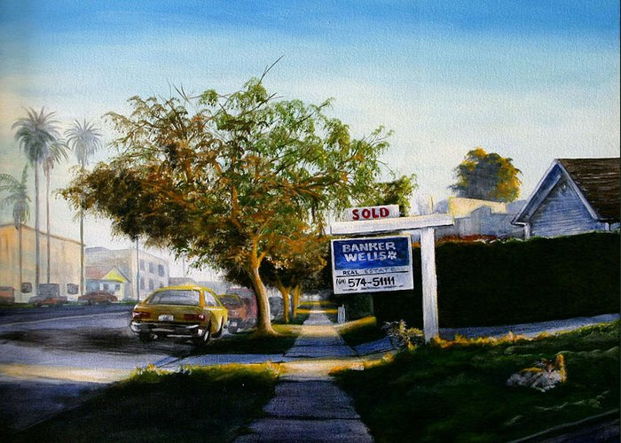City Scapes Greeting Card featuring the painting Sidewalk Sale by Duke Windsor