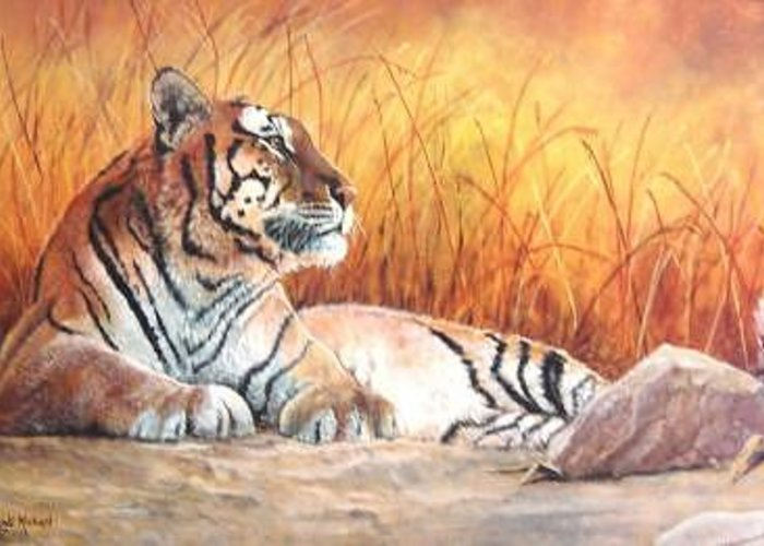 Tiger Greeting Card featuring the painting Sidhartha by Syndi Michael