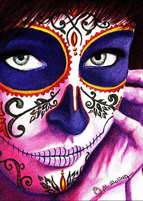 Dia De Los Muertos Greeting Card featuring the painting Siempre En Mi Mente by Al Molina