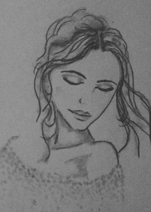 Girl Greeting Card featuring the drawing Sienna by Kate R