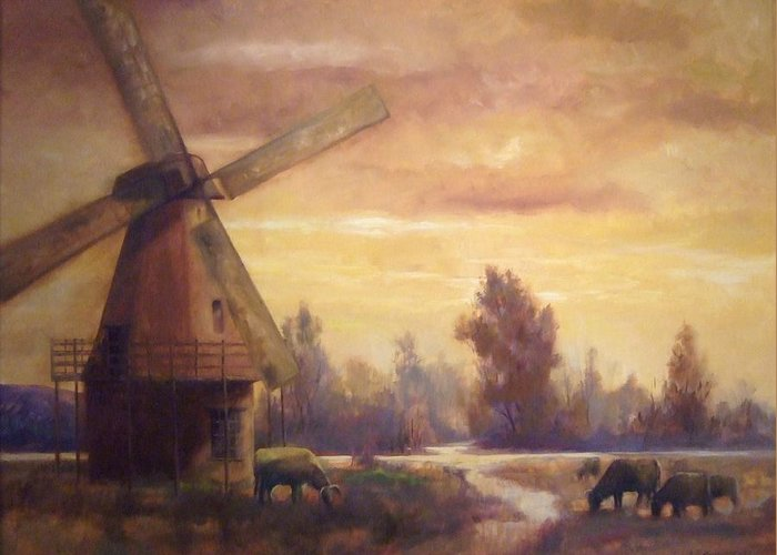 Windmill Greeting Card featuring the painting Sienna Mill by Ruth Stromswold