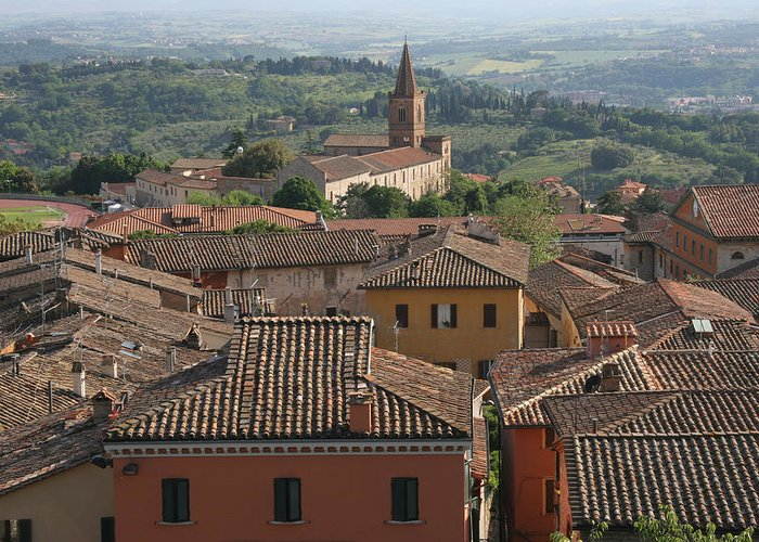 Siena Greeting Card featuring the photograph Sienna Rooftops by Tom Reynen
