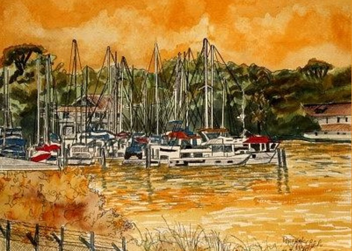 Sailboat Greeting Card featuring the painting Sienna Sky Boat Marina Nautical Art by Derek Mccrea