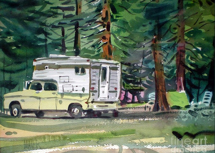 Camping Greeting Card featuring the painting Sierra Campsite by Donald Maier