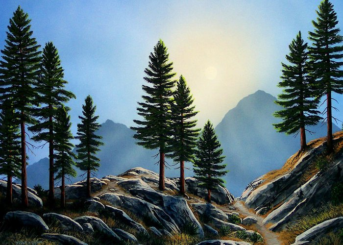 Landscape Greeting Card featuring the painting Sierra Sentinals by Frank Wilson